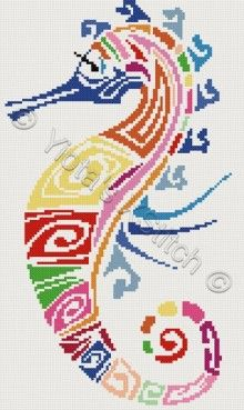 Seahorse abstract counted cross stitch kit by YiotasXStitch by Lisa Schumann Counted Cross Stitch Patterns, Cross Stitch Charts, Cross Stitch Designs, Cross Stitch Embroidery, Embroidery Patterns, Cross Stitch Alphabet, Cross Stitch Animals, Bordados E Cia, Tapestry Crochet