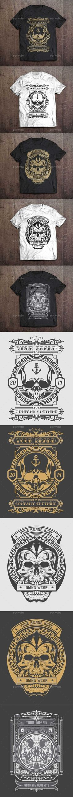 3 #T-Shirt #Illustration - Skull Theme - #Designs T-Shirts Download here: https://graphicriver.net/item/3-tshirt-illustration-skull-theme/9475040?ref=alena994