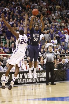 Jordan Crawford sinks a deep 3-pointer for Xavier with six seconds left in the first overtime to tie the score at 87-all and send XU to a second overtime against Kansas State in the NCAA Regional Semifinal on March 25, 2010 in Salt Lake City, Utah. KSU won in double overtime 101-96.