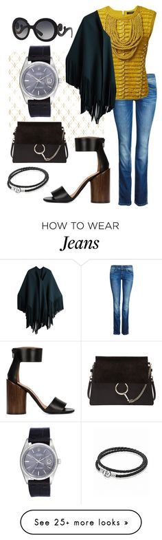 """""""Yellow plus jeans"""" by regina-eghie on Polyvore featuring Brewster Home Fashions, ONLY, Balmain, Burberry, Chloé, Givenchy, Rolex, Pandora and Prada"""