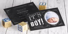 It's a Boy! This chalkboard style photo birth announcement is the cutest way to let family and friends know about your new bundle of joy.