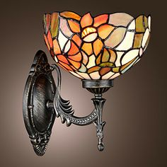 Tiffany Wall Light with 1 Light in Floral Patterned Shade – USD $ 119.99