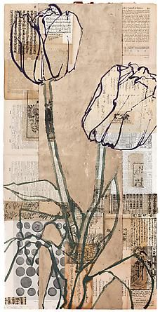 Robert Kushner Roman Coins Two Tulips, 2012 Öl, Acryl, Blattgold und Collage - Kunst Collage Kunst, Art Du Collage, Collage Art Mixed Media, Collage Ideas, Flower Collage, Collage Drawing, Collage Artists, Mixed Media Artists, Drawing Art