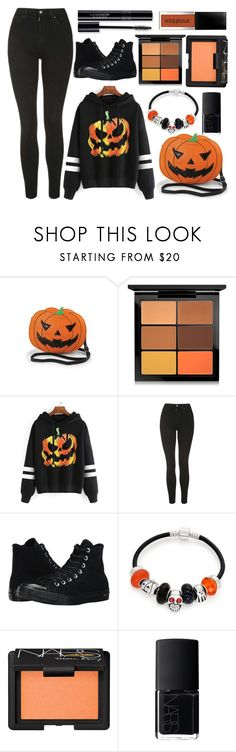 """""""Pumpkin Sweater"""" by princess13inred ❤ liked on Polyvore featuring MAC Cosmetics, WithChic, Topshop, Converse, Bling Jewelry and NARS Cosmetics"""