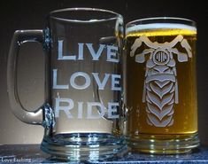 1 LIVE LOVE RIDE Motorcycle Rider Etched Glass Beer Mug, Glass Art   LoveHandiwork - Housewares on ArtFire