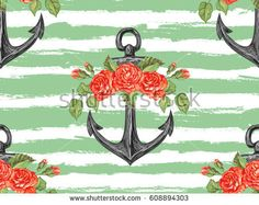 Seamless sea pattern with anchor, roses, leaves. Rose summer floral design vector background. Perfect for wallpapers, pattern fills, web page backgrounds, surface textures, textile