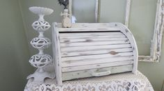 On Hold Vintage Shabby Chic Bread Box Wood - White Kitchen Roll Top Bread Box…