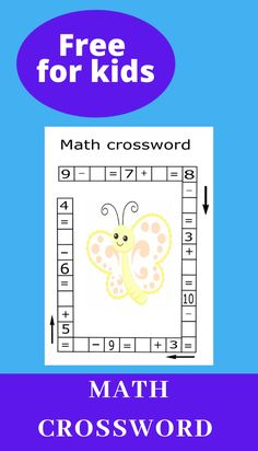 Math crosswords are fun way for students to get extra math practice. It is challenging and fun way to teach your child math. Teach your child math with fun. Kindergarten Coloring Pages, Preschool Kindergarten, 1st Grade Math Worksheets, Printable Worksheets, Counting Activities, Math Games, Math Challenge, Maths Puzzles, Math Practices