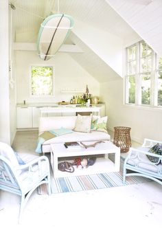 Good idea for the boys play room. House of Turquoise: Cynthia Walker Beach Cottage Style, Beach Cottage Decor, Coastal Decor, Cottage Ideas, Coastal Style, Coastal Living, Coastal Cottage, Cottage Porch, Coastal Bedrooms