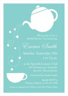 Tiffany Blue Tea Party Custom Invitations  Set by LittlePigPress