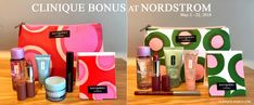 Clinique Bonus at NORDSTROM starts today, online and in stores. Choose your base gift when you spend $28 or more. Spend more and get more Clinique gifts.