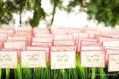 Guest Seating Cards in Grass Bed