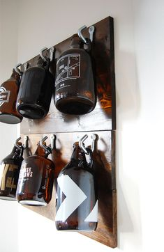 DIY Growler Wall - An easy and affordable way to keep your growlers in one place and take back some of your kitchen storage!