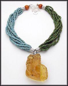 CHUNKY AMBER  8 Strand Indonesian Glass  by sandrawebsterjewelry, $165.00