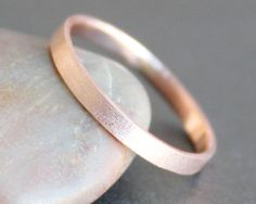 14k Solid ROSE Gold Ring - 2mm MATTE Rectangle Band - Simple UNISEX Wedding Ring (Size 2 - 9) on Etsy, $145.00