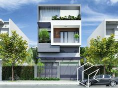 Duplex House Design, House Front Design, Small House Design, Modern House Design, Villa Design, Facade Design, Modern Townhouse, Narrow House, Home Building Design