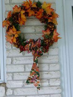 Falling Leaves Wreath with Leaf Lovin' Bow Porch Decorating, Decorating Ideas, Falling Leaves, Outdoor Decorations, Fall Decorations, Autumn Leaves, Cool Designs, Bows, Wreaths