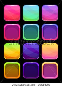 Funny bright colorful ui elements, square buttons and frames for app design