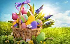 Télécharger fonds d'écran Pâques, panier à, oeufs de Pâques, le printemps, l'herbe verte