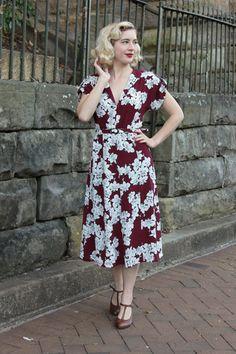 Amanda Burgundy Dress - Elise Design   - 1