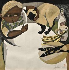 Sekino JUNICHIRO (1914 - 1988) Enfant et chat à table (gravure sur bois)