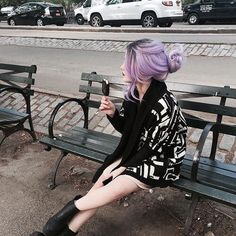 Purple hair graphic cardigan all black everything outfit grunge style streetwear fashion