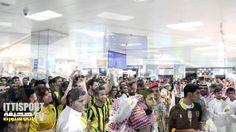 جمهور الاتحاد في المطار بعد مباراة تأهل الاتحاد لدور الثمانية بالاسيوية