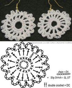 19 Ideas crochet jewelry earrings wire bracelets You are in the right place about crochet crafts Here we offer you the most beautiful pictures about. Crochet Diagram, Crochet Chart, Thread Crochet, Crochet Motif, Irish Crochet, Crochet Flowers, Crochet Lace, Crochet Stitches, Crochet Earrings Pattern