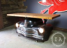 Vintage 1952 Chevrolet Fleetmaster Car Front End Bar Butcher Block Table Car Part Furniture, Automotive Furniture, Automotive Decor, Furniture Design, Automotive Carpet, Man Cave Garage, Garage Bar, Bar Metal, Cave Bar
