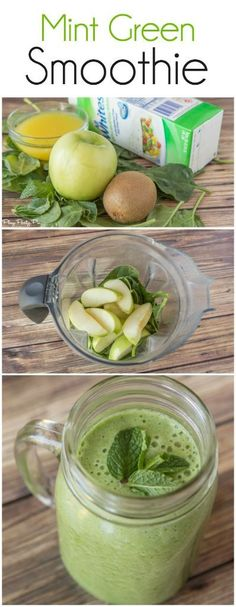 This mint green smoothie recipe is packed full of leafy greens, green fruits, and protein in one delicious smoothie recipe from www.playpartypin.com.