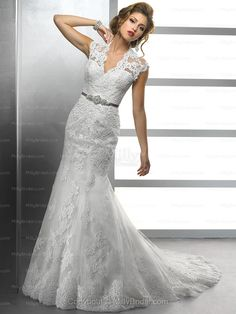 Trumpet/Mermaid V-neck Lace Satin Chapel Train White Buttons Wedding Dresses at Millybridal.com