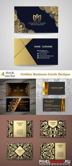 Vectors - Golden Business Cards Designs