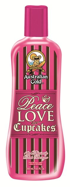 Australian Gold's Peace, Love & Cupcakes: Cure your craving for delightfully dark skin with Peace, Love & Cupcakes™.  This 10x deliciously dark bronzer will give you deep, natural color while a perfect mix of skincare gives your skin a sweet treat glow!  Hemp Seed Oil conditions, moisturizes and protects from toxins making you look (and smell) good enough to taste!  This is one treat you can afford to overindulge in…it is calorie-free!!