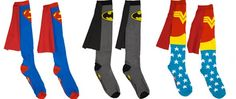 Great Gift....superhero socks with capes! from 80s Tees....great gift! $15  Superman, Batman, Wonder Woman!
