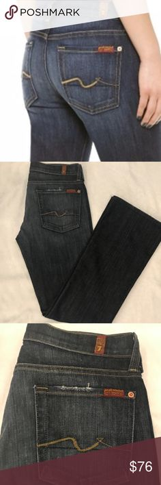 """7 For All Mankind Flip Flop Bootcut Jeans Sits low on the waist, slim through the thigh, widens at the knee to a bootcut. The shorter inseam allows this jean to be worn with a flat or a heel. Stretch denim is 98% cotton and 2% elastane. Made in USA. Super soft medium/dark blue distressed swith whiskering, fading, and light abrasion for a worn in feel. Approximate measurements: Waist 30.5"""", Hip 36"""", Inseam 31"""", Outseam 39"""", Front Rise 8"""", Back Rise 12.25"""", Leg opening 17"""". Only worn a few…"""