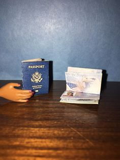 1:6 Scale Passport, Boarding Pass, Credit Card Set; For Barbie Diorama