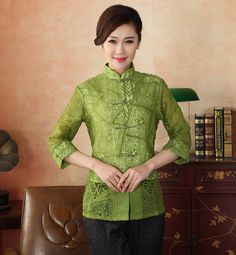 High Quality Green Female Sexy Hollow Out Tops Chinese Cotton Blouse Vintage Button Shirt Tang Suit S M L XL XXL XXXL NS-16