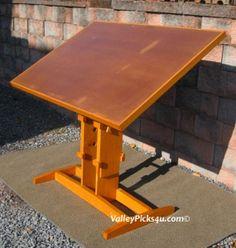 Vintage Solid Oak Industrial Art Drafting Table & Stool by picks4u, $925.00