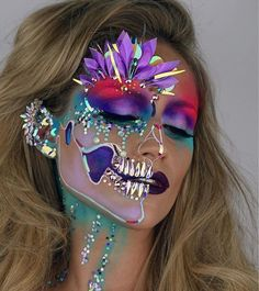Top 182 Halloween Make up Pictures & Photos Makeup Clown, Makeup Carnaval, Costume Makeup, Unicorn Makeup, Carnival Makeup, Mermaid Makeup, Pretty Halloween, Halloween Makeup Looks, Halloween Party