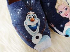 "Hand Painted Disney ""FROZEN"" TOMS featuring Olaf & Queen Elsa"