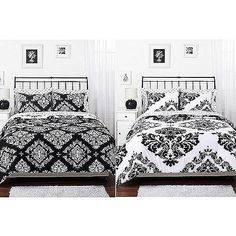 Classic Noir Reversible Bedding Comforter Set - damask ... with hot pink, yellow and blue accent pillows??