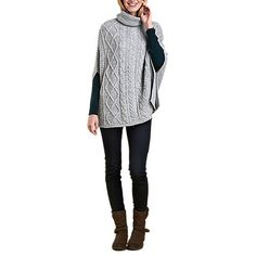 Buy Barbour Court Cable Knit Poncho, Light Grey Marl Online at johnlewis.com