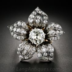 1.86 Carat Center Diamond Antique Flower Ring, Hair Ornament, Pin and Pendant