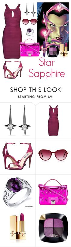 """""""Comic Chic: Star Sapphire"""" by supercomicbooklover ❤ liked on Polyvore featuring Noir Jewelry, Hervé Léger, Steve Madden, Steven Alan, Oravo, Jimmy Choo, Yves Saint Laurent, L'Oréal Paris and Rimmel"""