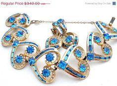 ON SALE Vintage Signed Ora Blue Rhinestone Set Heart Bracelet Earrings Runway