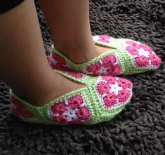 African Flower Granny Square Slippers Crochet by AdorishOriginals, $5.00