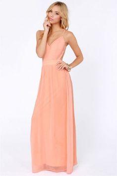 Peach V-neck Spaghetti Straps Backless Maxi Chiffon Dress - Sheinside.com