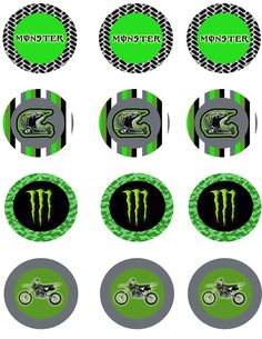 Monster Energy Dirt Bike Cupcake Toppers Instant Download