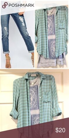 Super comfy Bella doll gingham shirt Size XS. Bought at high end boutique and extremely comfy! Tops Button Down Shirts