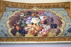 """Pretty Floral Tapestry in Brown, Purple and Teal - Wooden Slat for Bottom Weight - 54"""" W x 37.5"""" H"""